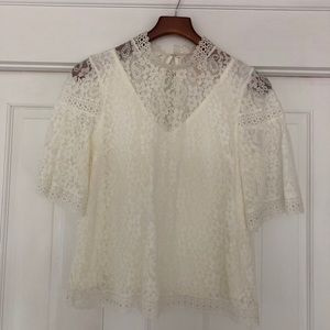 Laundry by Shelli Segal lined lace top, size small